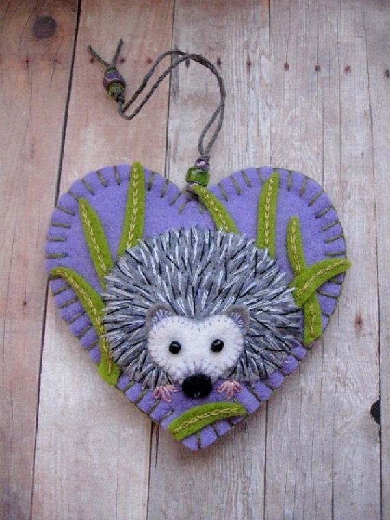 Hedgehog in Grass Ornament – Ready to Ship Embroidered Fiber Art