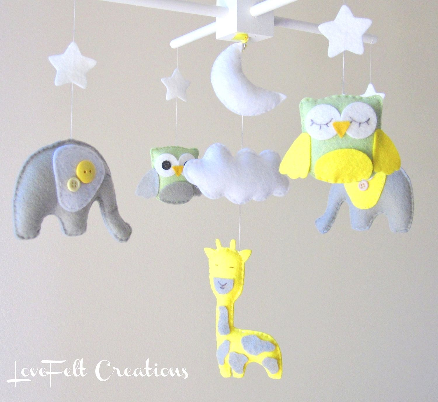 Baby mobile (gray and yellow!)