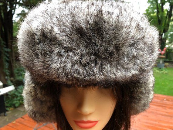 725987dad Real Fur Bomber Hat Trapper Hat Mountain Man Vintage Warm Winter ...