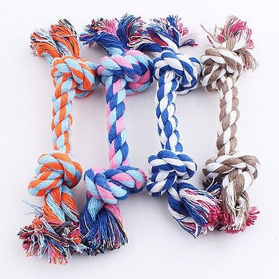 cool Lovely Puppy Dog Pet Toy Cotton Braided Bone Rope Chew Knot New - For Sale