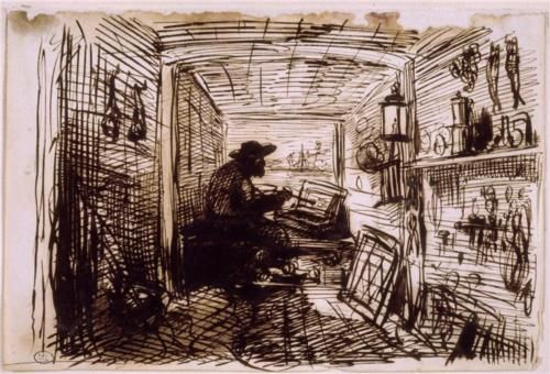 The Studio on the Boat - Charles-Francois Daubigny