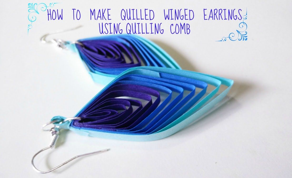 How to make quilled winged earrings using quilling comb bijouterie