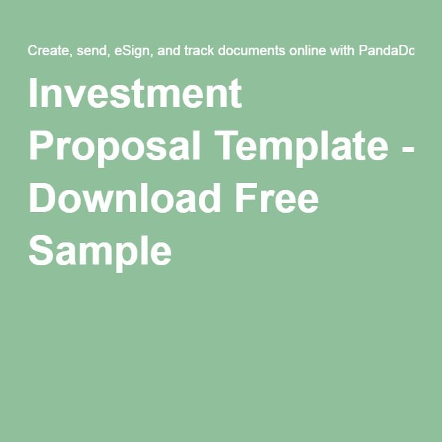 Investment Proposal Template  Download Free Sample  Business Plan