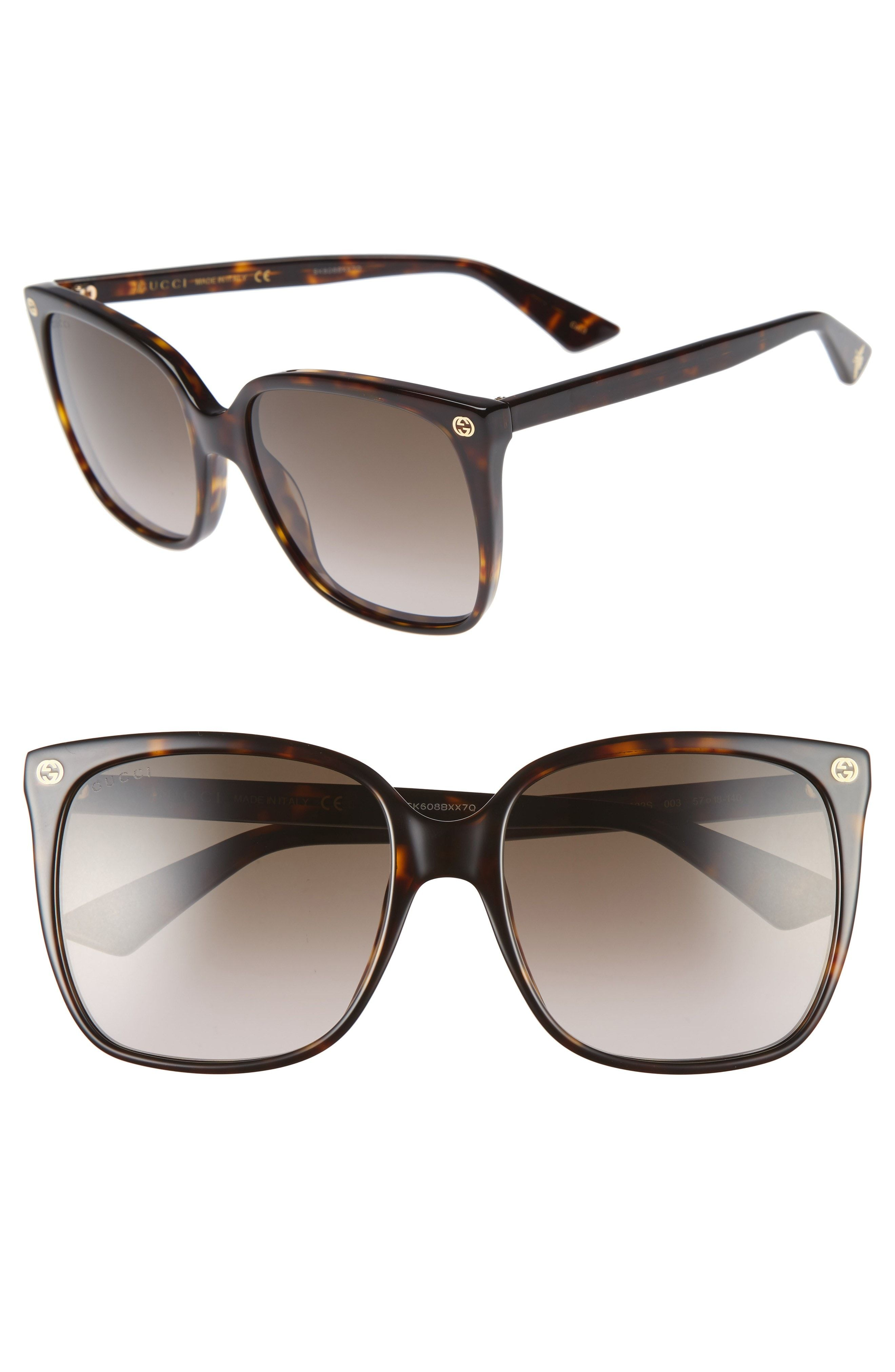 377f452fe63f8 GUCCI 57MM SQUARE SUNGLASSES - HAVANA  BROWN