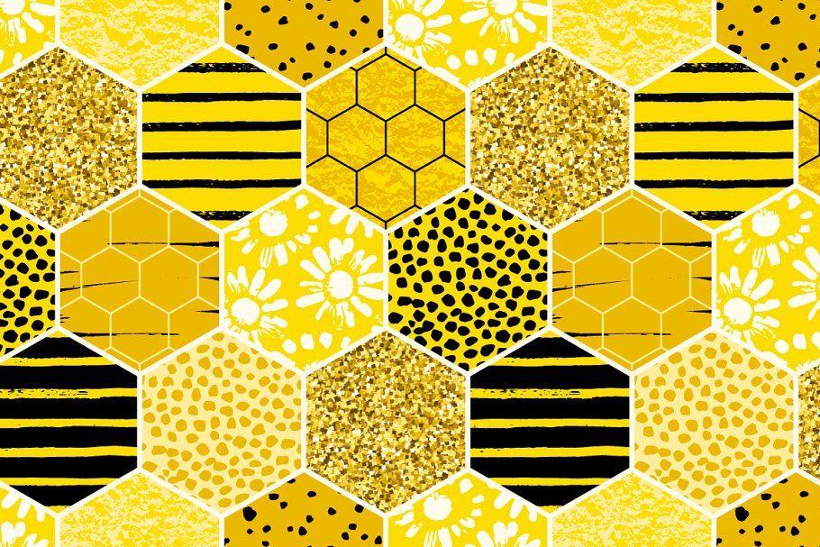 ZOANEN Gesichtsbedeckung,Bee Geometrical Honeycomb Bienenstock und Kamille Blumen Spring Floral Themed Honey Print,Sturmhaube Wiederverwendbare Anti-Staub-Mund Bandanas Halsmanschette mit 2 Filtern