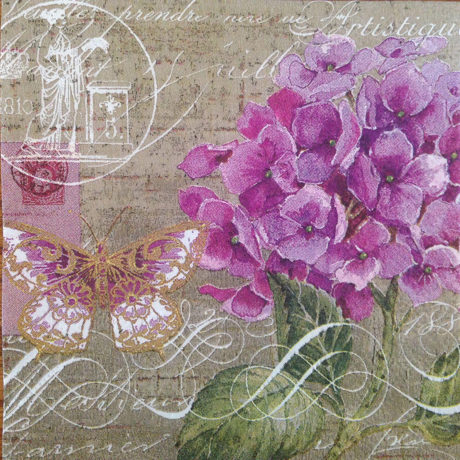 3 Paper Napkins Decoupage Hydrangea Floral Script Beverage