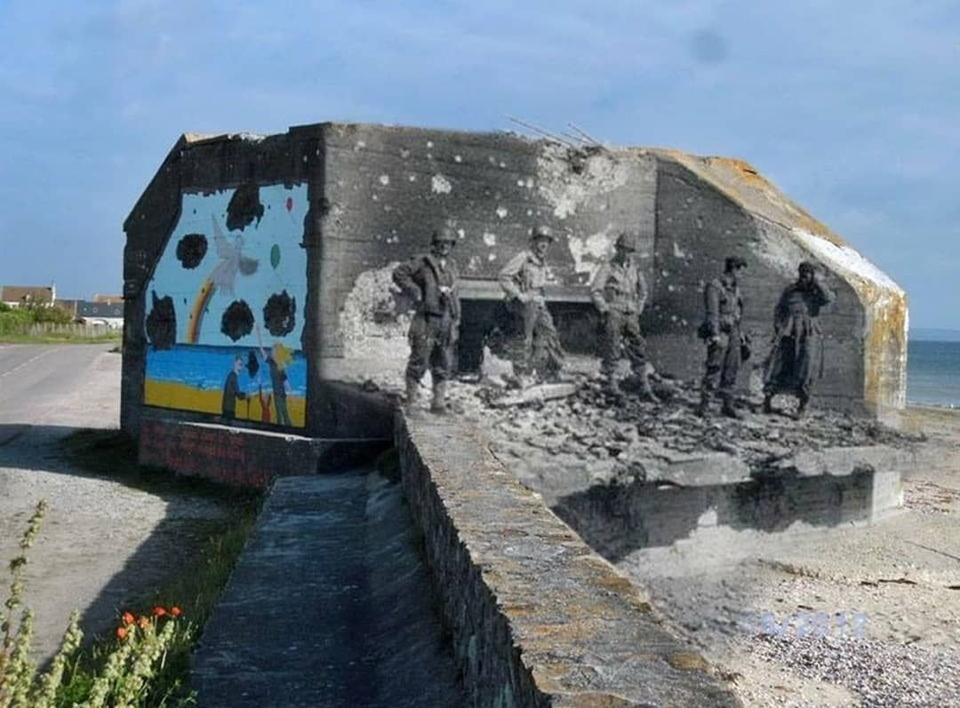 US soldiers and a captured German bunker at the beach of Ravenoville ...
