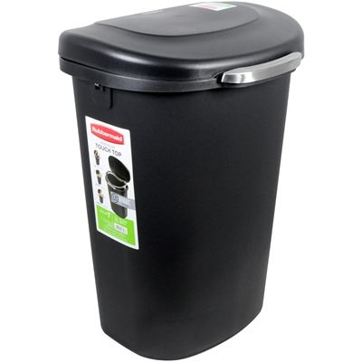 Rubbermaid 49.2L Black Plastic Indoor Trash Can with Lid | *Waste ...