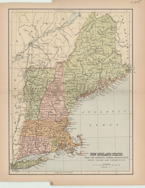 New England | Maps | Pinterest | Framed maps and Wall maps