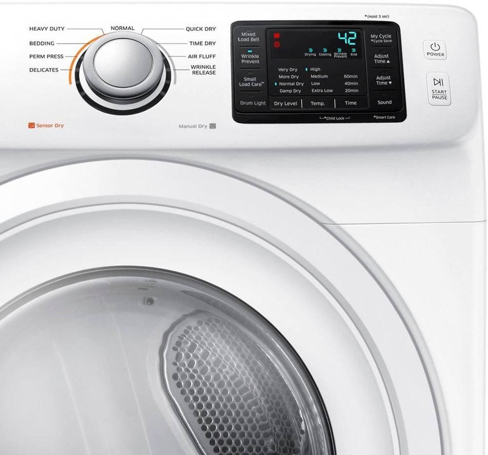 Samsung 7 5 Cu Ft 9 Cycle Electric Dryer White Cool Things