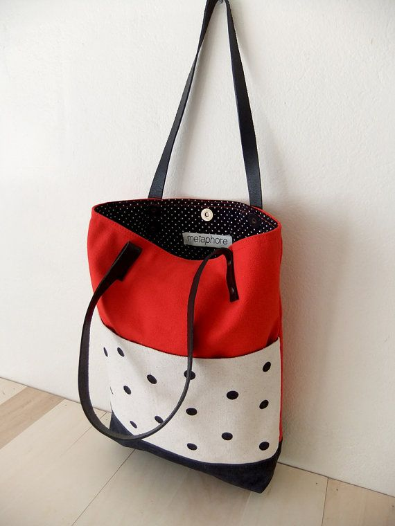 e0f001ac3dd2 Red Canvas Tote Bag Black Waxed Canvas Base by metaphore on Etsy ...