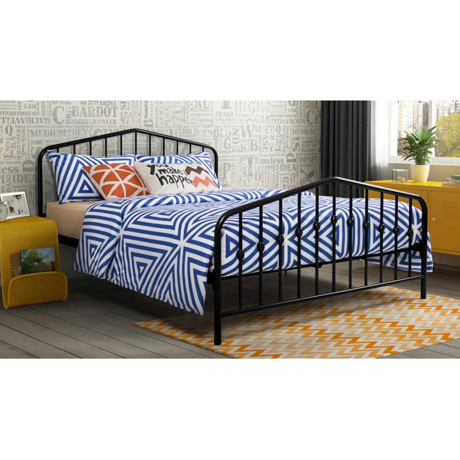 Novogratz Bushwick Queen Bed Black Grey bedroom