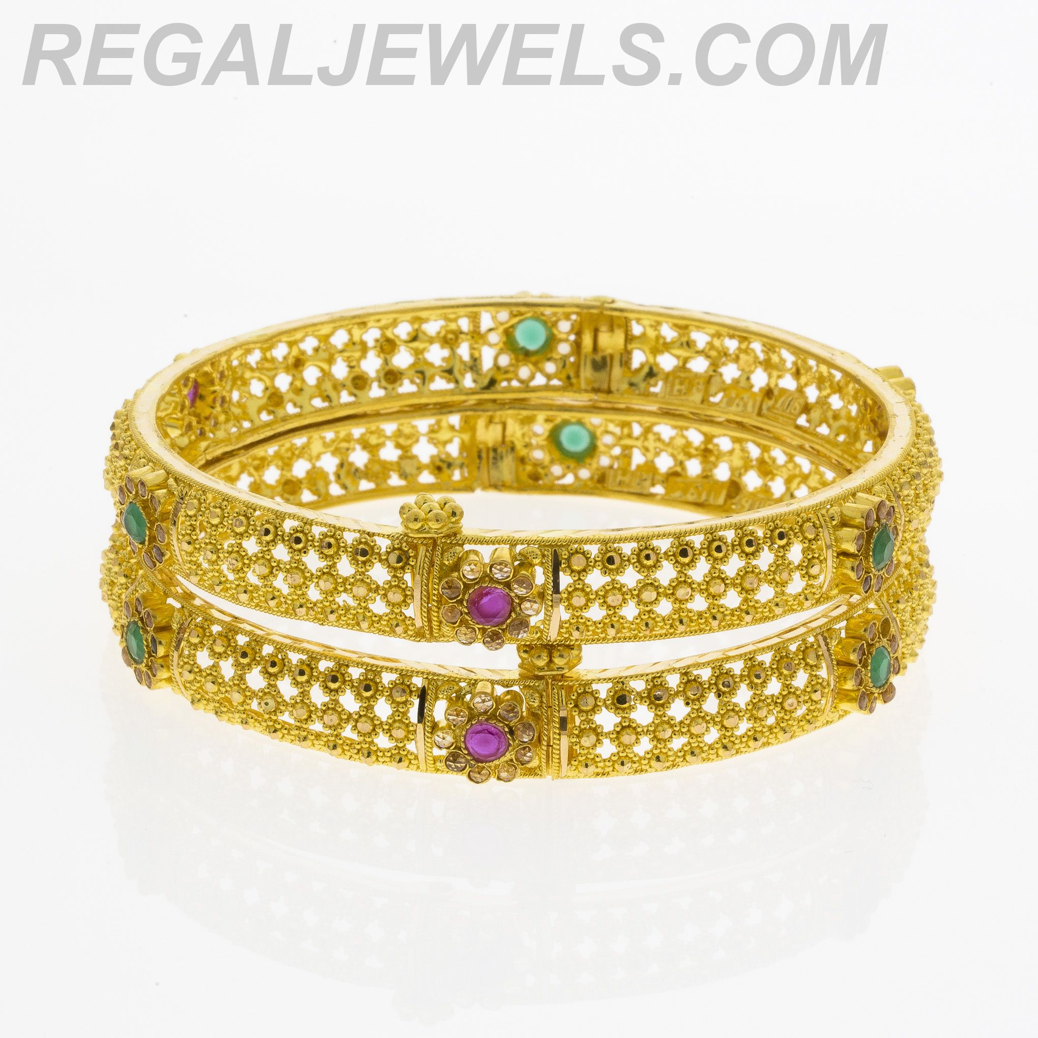 Regal Jewels line 22KT Gold Filigree Multicolored Crystal
