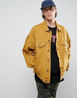 Asos Oversized Denim Jacket In Vintage Yellow Jean Jacket Outfits Men Jean Jacket Outfits Yellow Jeans