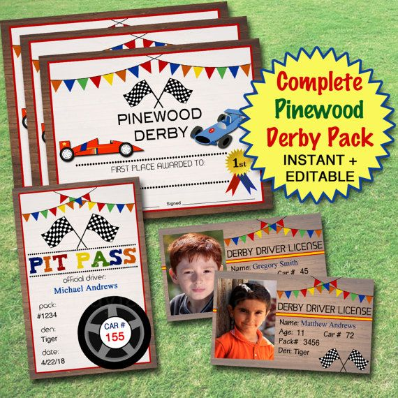 20 OFF EDITABLE Pinewood Derby Pack INSTANT Download, Boy Scouts - first place award certificate