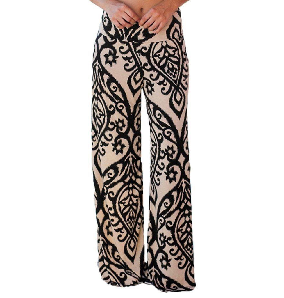 30fe1611d8d41d LOSRLY Women Wide Leg High Elastic Waist Printed Boho Palazzo Pants Plus  Size