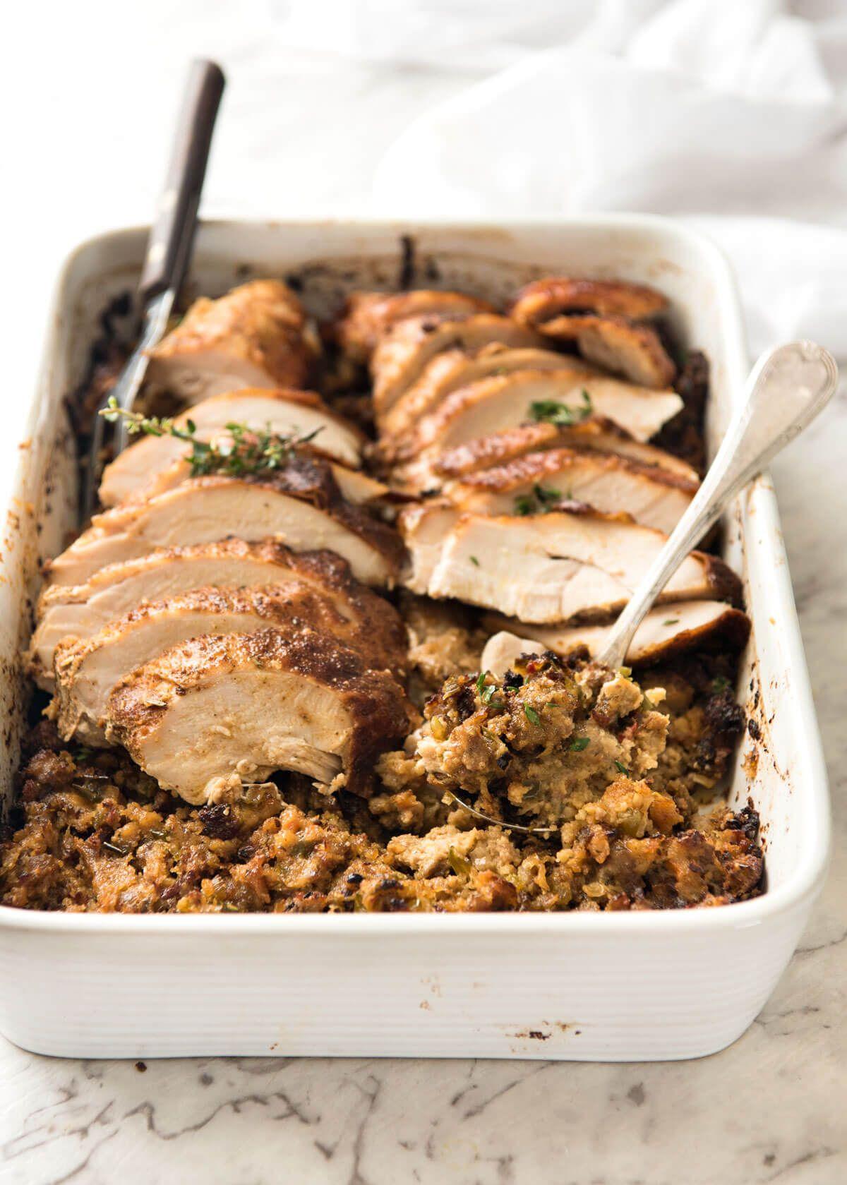 Brined and stuffed turkey breast