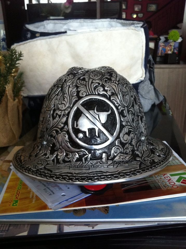 00836565f05 NoBullshit logo  engraved metal  helmet