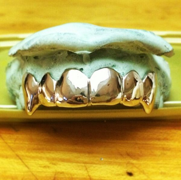 14 K Gold Top 6 With Extended Fangs Gold Fangs Grillz Gold Grill