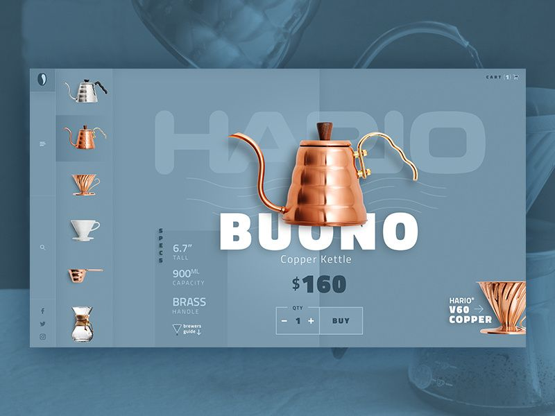 Coffee Brewer Website Design is part of Website design, Web layout design, Web design inspiration, Web design resources, Web design trends, App interface design - Website concept for coffee brewing