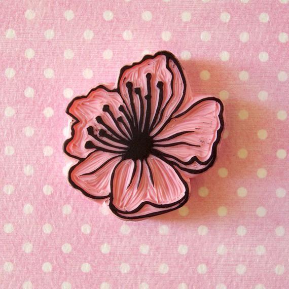 Cherry blossom rubber stamp two color stamp spring rubber | Etsy #eraserstamp
