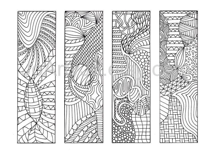 Zentangle Bookmarks to Color | Adult Coloring | Pinterest ...