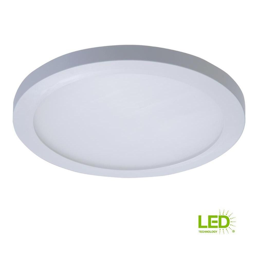 Halo 5 In And 6 In 4000k White Integrated Led Recessed Round Surface Mount Ceiling Light Trim At Cool White Smd6r6940wh The Home Depot Surface Mount Ceiling Lights Downlights Ceiling Lights