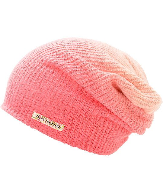 03786e4c9e7 Add some color to your life with this slouch fit beanie in a pink fade  colorway