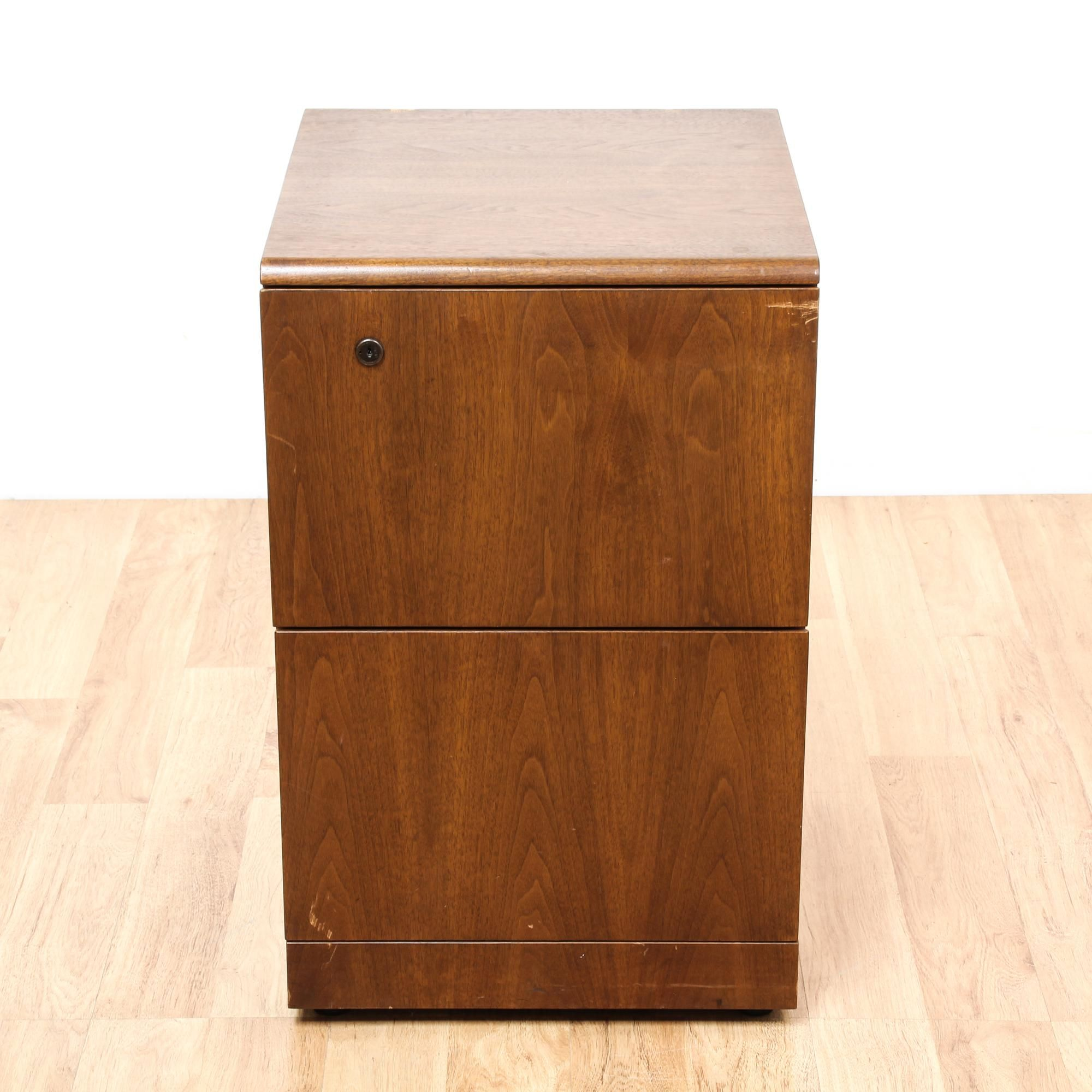 This File Cabinet Is Featured In A Solid Wood With A Glossy Walnut Finish.  This Mid Century Modern Style Chest Of Drawers Has 2 Spacious Drawers And  ...