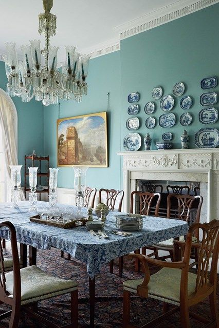 Traditional Blue Country Dining Room
