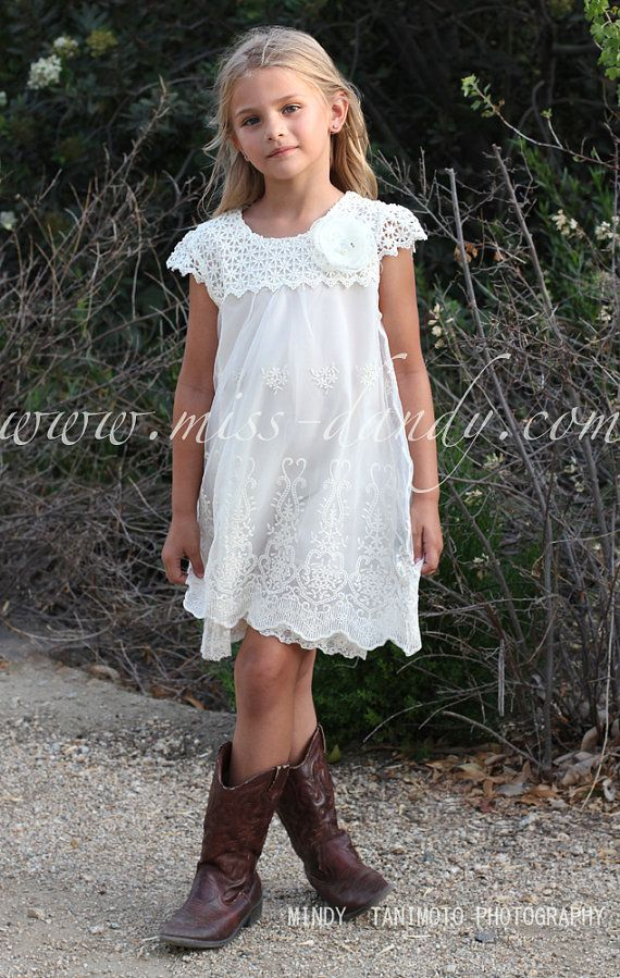79df87ab5655f Ivy Dress- Lace Flower Girl Dress, Ivory / Champagne Boho Bohemian Flower  girl,