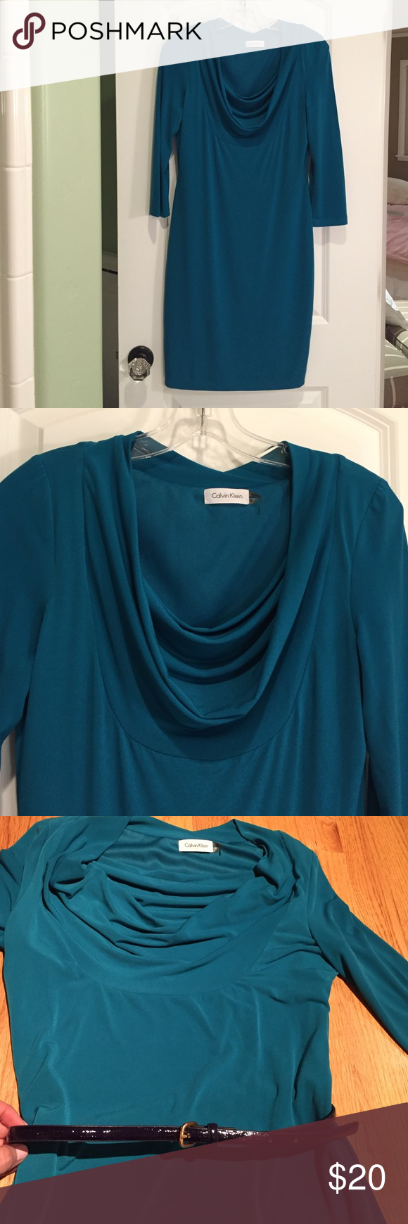 Calvin Klein Dark Teal Stretchy 3/4 Sleeve Dress Lightweight, super comfortable, pull over dress with cowl neck. Can be worn with navy crocodile belt or paired with another color like black or silver. I had the little string belt holder removed at my tailor because I thought it was sitting too high on the dress. Worn once size 6. Calvin Klein Dresses