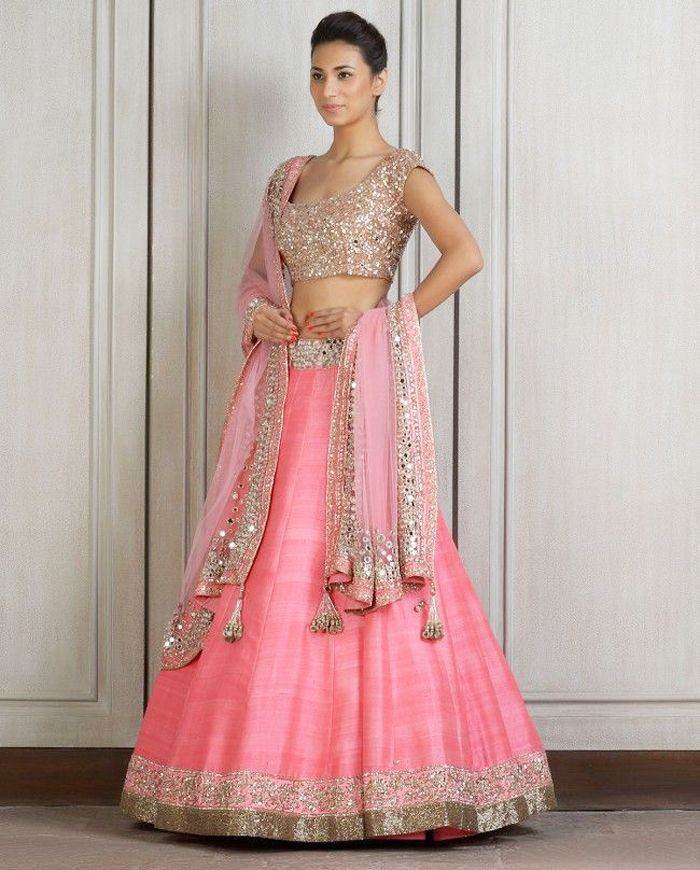 Pink shimmery lehenga   Outfits   Pinterest