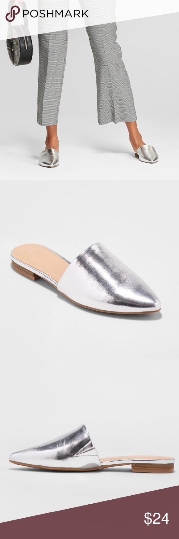 TARGET Junebug Silver Slip-on Mules