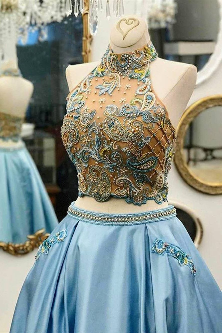 Two Piece Halter Floor-Length Blue Satin Prom Dress with Beading ...