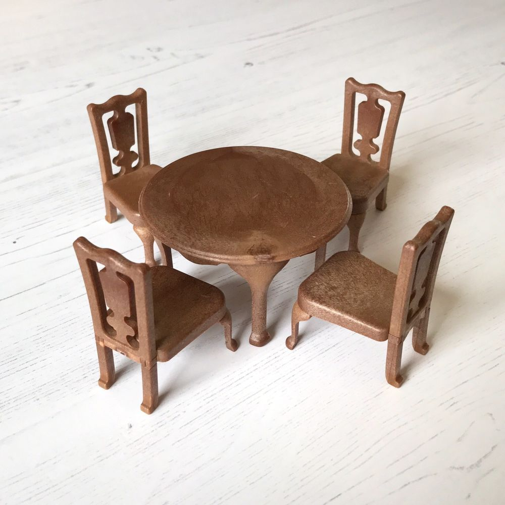 Vintage Sylvanian Families Furniture Rare Brown Dining Round Table Chairs 30 Family Furniture Round Table And Chairs Table And Chairs