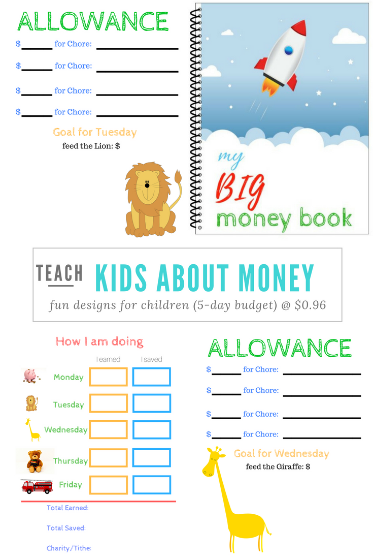 Kids Budget Planner Teach Your Child At An Early Age How To Manage Money With Our Customized 5 Day Allowance Kids Money Kids Budget Household Budget Template [ 1102 x 735 Pixel ]