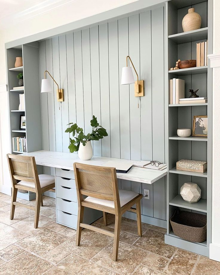 IKEA Hack Builtin Double Desk in 2020 Home, Home