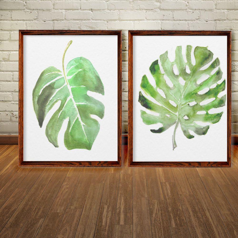 Watercolor monstera palm set 2 tropicalleaveswallartbedroom watercolor monstera palm set 2 tropicalleaveswallartbedroomgreen amipublicfo Images