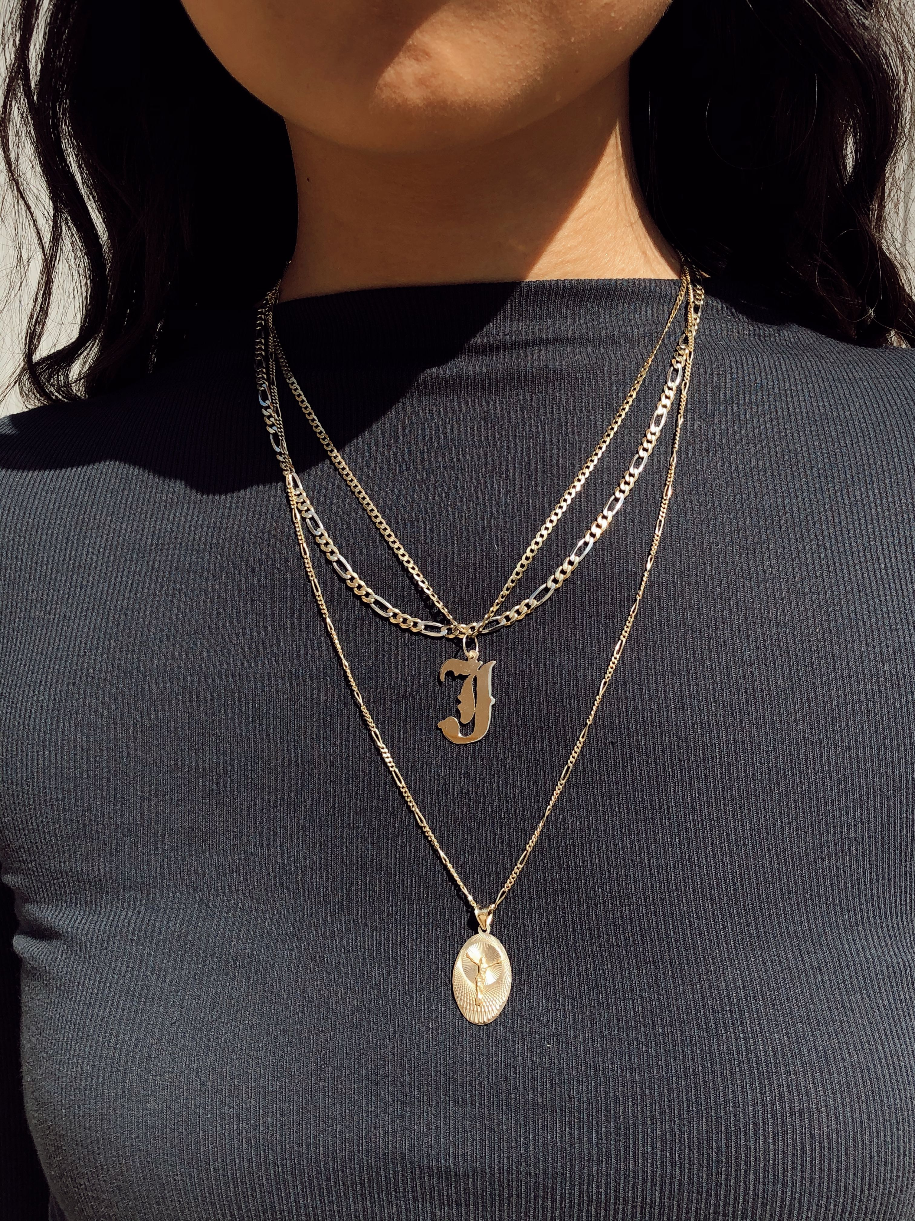 Old English Charm: Layered Gold Chain Necklaces With Old English Letter J
