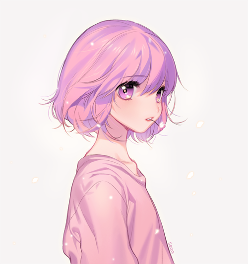 anime girl with short pink hair
