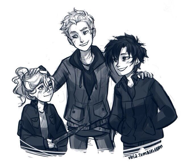 Young Thalia, Luke, and Annabeth. Adorable. ...RIP, Luke...