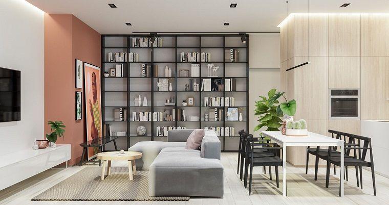 Arredare cucina soggiorno ambiente unico, divano di colore ...