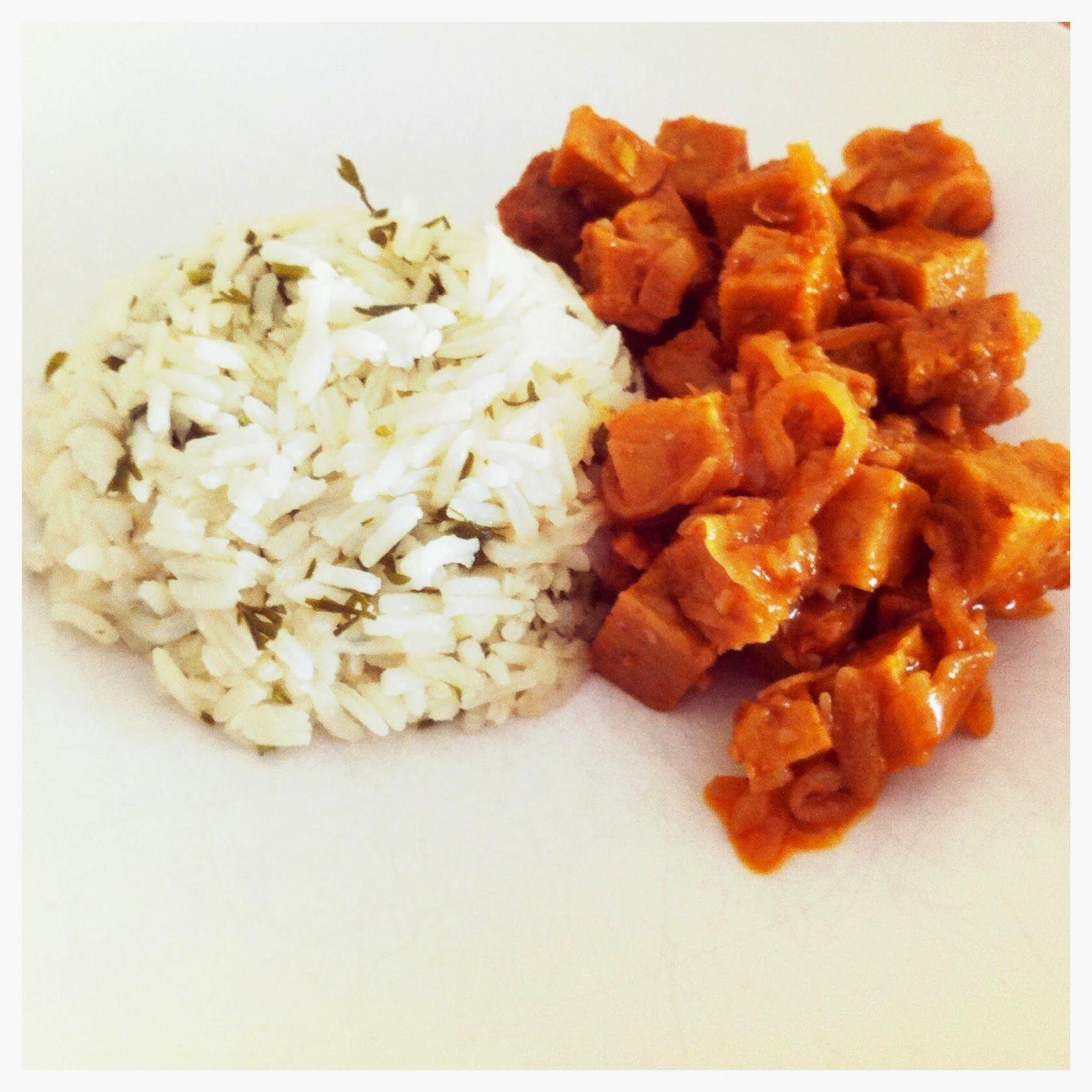 Tofu e muito mais: Seitan de Escabeche com Arroz de Rama de Cenoura