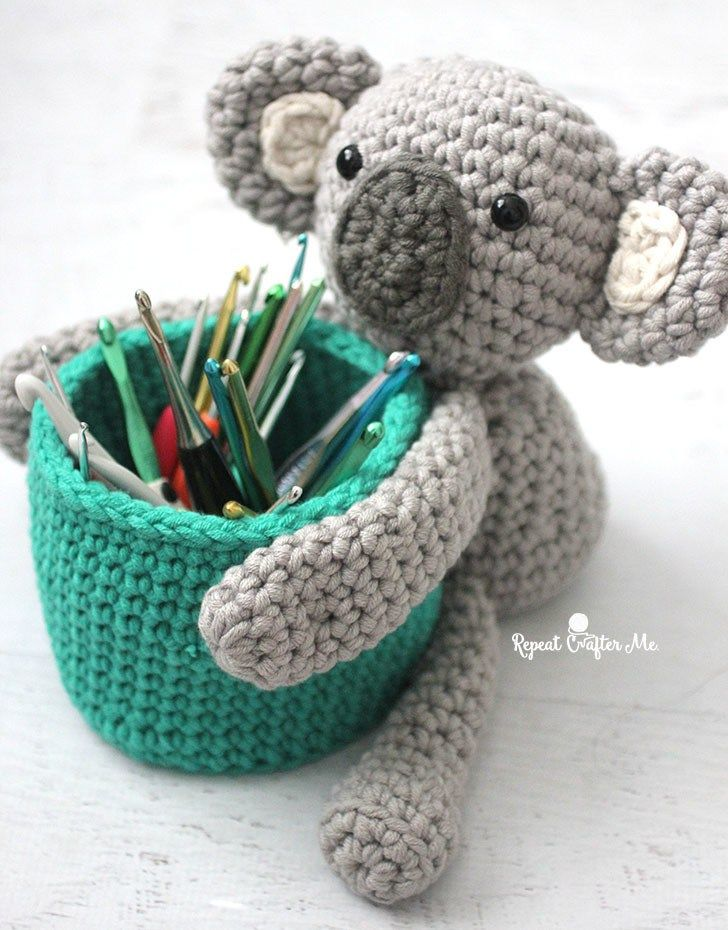 Crochet Koala Bear Basket With Bernat Beyond Free Crochet