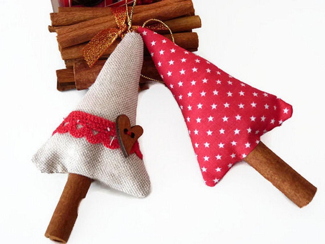 Décoration de noël à suspendre lot de 2 sapins de noel tissu et lin : Accessoires de maison par driworks