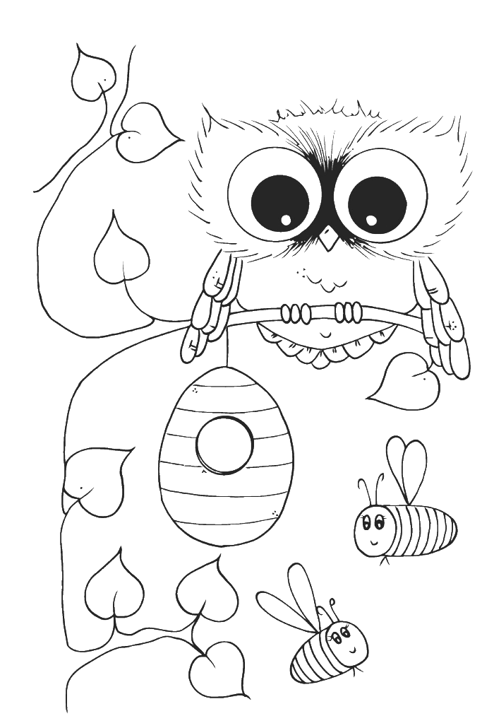 Cute Owl With Bees Coloring Pages - Owl Coloring Pages : Free ...