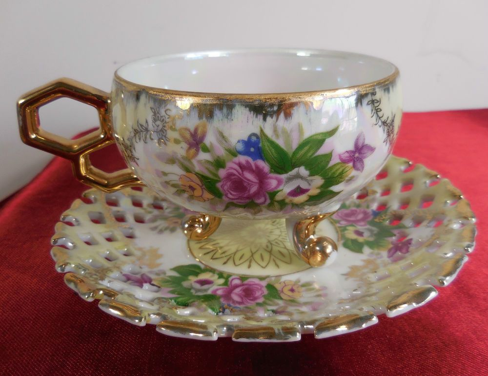 Vintage Lustreware Porcelain Tea Cup And Saucer Rose Pattern Gold Decoration Tea Cups
