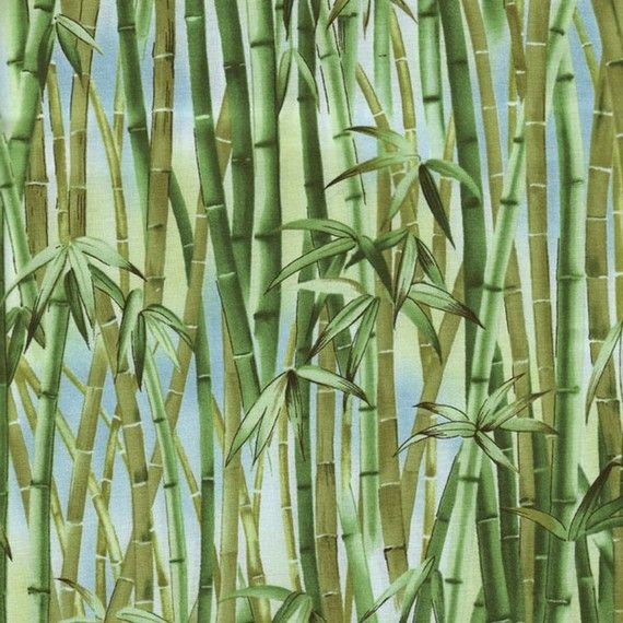 Hoffman 951 Forest Bamboo Print Cotton Fabric By Cutemonkey 7 25
