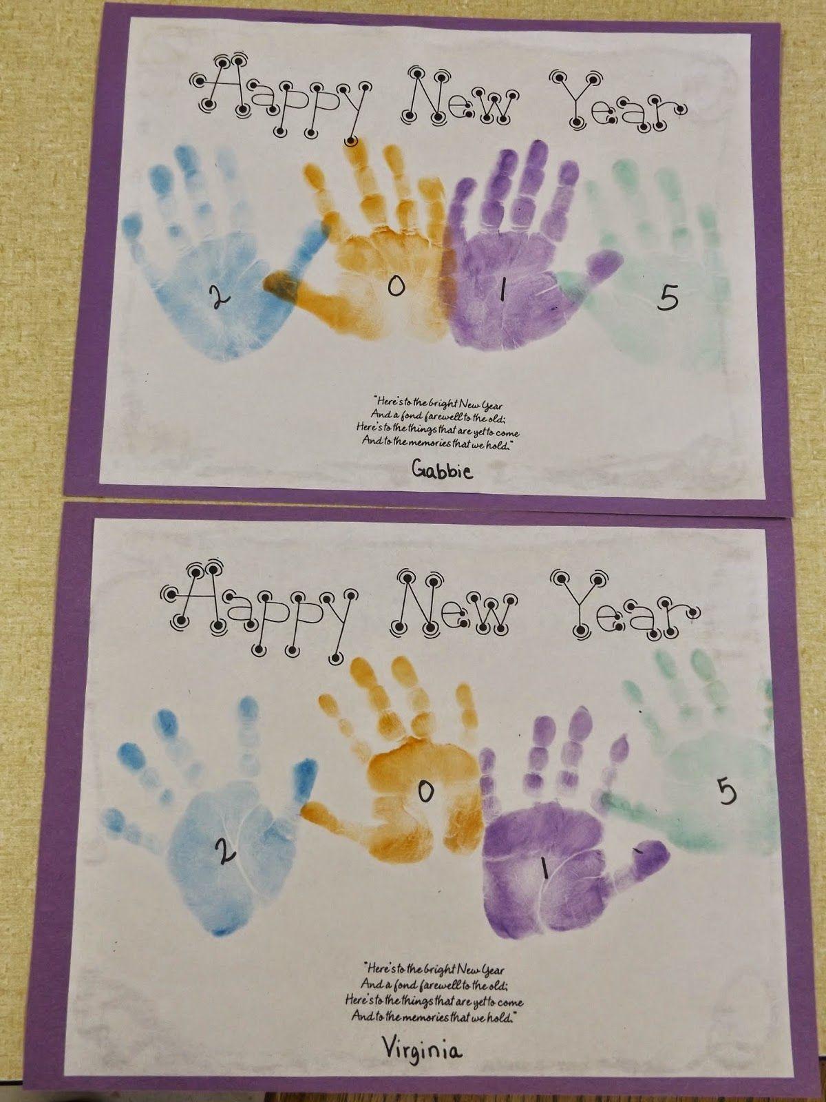 Handprint New Year Calendar craft, New year's eve crafts